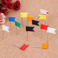 100 Pieces Mixed Color Flag Push Pins Nail Thumb Tack Map Drawing Pin Statio.p