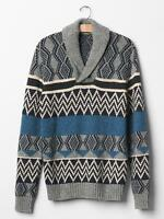 Men GAP Wool Sweater Geo Fair Isle Shawl Alpaca Cotton Grey Blue M L XL 721346