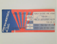 POISON 5/15/1989 Open Up and Say Ahh Tour Concert Ticket Stub Montreal Forum