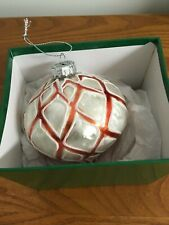 Christmas Red White Glass Blown Ornament