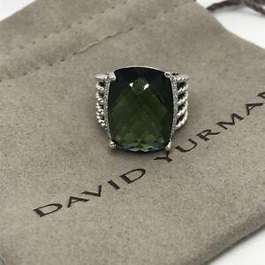DAVID YURMAN 925 SILVER 16x20mm WHEATON RING Prasiolite & Diamond Sz 8