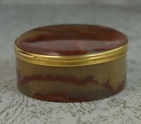 Rare Victorian French 18 Carat Gold and Agate Circular Box d2078