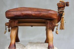 Vintage Camel Saddle for Kids Middle Eastern stool Quality Leather Wood Footstoo