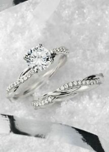 3.45Ct Round Cut Diamond Infinity Engagement Bridal Ring Set In 14K White Gold