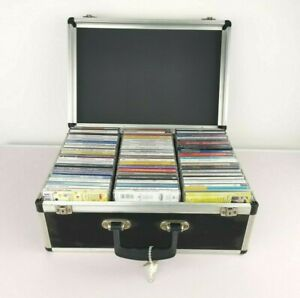DJ CD Koffer mit 65 Original CD´s inkl.Schlüssel abschließbar Alukoffer Konvolut