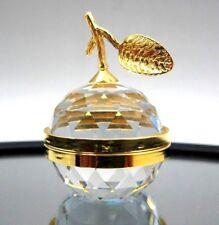 Retired Swarovski Crystal & Gold Tone Apple Picture Holder Mirror # 010063