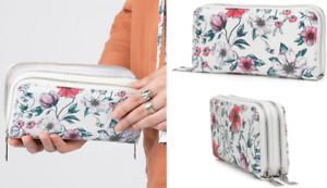 New Ladies Double Zip Wallet Large Purse Card Holder Case Floral Clutch Handbag