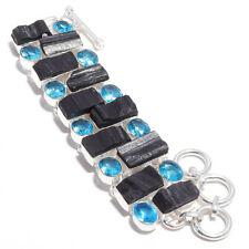 "Black Tourmaline Quartz Gemstone 925 Stamped Handmade Bracelet Jewelry 7-8"" 7860"
