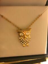 Owl CBC City by City NECKLACE Cubic Zirconia Sliding Pendant Gold Tone