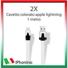 2X Cavo (Cavetto) Dati LIGHTNING PIATTO APPLE NOODLE per Iphone 5/5S/6 iPad Ipod