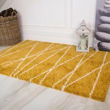 Ochre Yellow Mustard Zig Zag Chevron Geometric Fluffy Shaggy Thick Area Rugs
