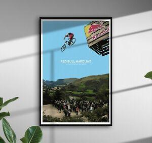 Mountain Bike Red Bull Hardline mtb Illustration Wales biking Posters Prints