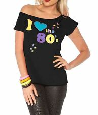 Womens I Love The 80s T-shirt Outfit Ladies Pop Star Top Fancy Dress Black UK 10-12