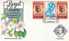 CANOUAN 1982 BIRTH OF PRINCE WILLIAM 60c GUTTER PAIR FIRST DAY COVER