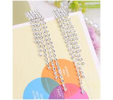 Pierced Chandelier Style Multi-Lined Crystal Tassels Diamante Earrings