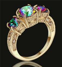 Mystic Rainbow Fire Topaz Ring 18k yellow Gold Fillled Jewelry For Women/Men Sz8