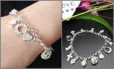 Damen Armband mit Anhänger 12 Charms Bettelarmband 925 Siber PL Geschenk elegant