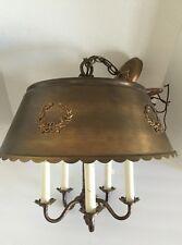 Vintage French Style Tole Ware Bouillette Chandelier Brass Pendant Ceiling Light