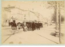 France, Calèches et cochers  Vintage albumen print.  Tirage albuminé  12x18
