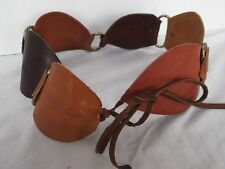 vtg wide 3.5in hand made crafted leather chain link brn Hippie Boho tie belt S