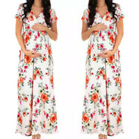 Women Pregnant Summer Floral V-Neck Maxi Tea Dress Wrap Maternity Beach Sundress