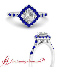 1 Ctw Asscher Cut FLAWLESS Diamond Cathedral Halo Engagement Ring With Sapphire