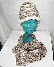 HAND KNIT FROM 'FRENCH CRAFT MARKET' BEANIE ADORNED HAT MATCHING NARROW SCARF