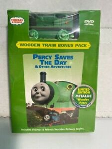 Thomas Tank Wooden Metallic Percy Train & Percy Saves the Day DVD