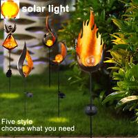 BS: LED Solar Außen Steck Leuchte Garten Dekor Erdspieß Glas Kugel Lampe Flamme