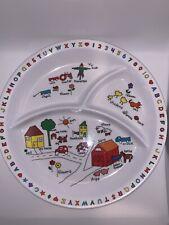 VINTAGE Anacapa Melamine Ware Child's Divided Plate 1987 Farm Barn ABC