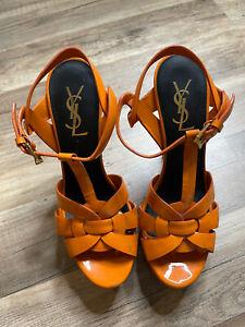 YSL Womens Patent Leather High Heel Platform Sandals Orange Size EU 36 US 6