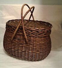 Antique, Vintage, Beautiful hand woven, Creel basket, fishing basket withhandles