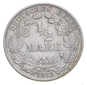 SILVER Roughly the Size of a Nickel 1915 Germany 1/2 Mark World Silver Coin *649
