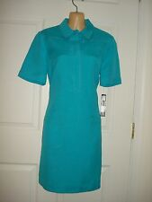 Tahari ASL Wear to Work Short Sleeve Solid Blue Linen Shift Dress Size 2