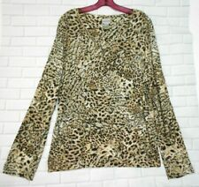 Chico's Black Brown Glitter Rayon V  Neck  Long Sleeve Top Over Blouse  size 3