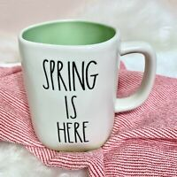 "NEW! Rae Dunn ""SPRING IS HERE"" LL Mug W/ Green Interior/Bottom Easter 2021 HTF"