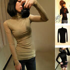 Korea Women Fashion Casual Slim Fit Turtle Neck Long Sleeve T Shirt Blouse Tops