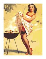 Retro Pin-Up Grilling on the BBQ DIGITAL Counted Cross-Stitch Pattern Chart