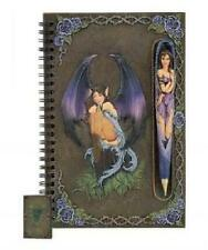 DARK FAIRY JOURNAL WITH MAGNETIC FAIRY PEN ~ PEWTER RESIN CARVED COVER ~ NEW