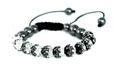 Shamballa Bracelet 10mm Crystal Hematite Disco Ball Beads Adjustable Macrame