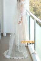 wv04 BNWT  2.7m Lace Trim Bridal Veil Chapel Cathedral Floor Length Ivory White