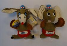 Dakin Dream Pet GOP Elephant and Demo Donkey Plush Republican Democrat with Tags