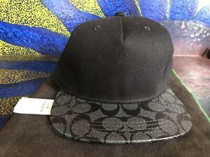 Authentic COACH CAP F86476 FLAT BRIM SIG PVC 223832JAX Charcoal Black NEW