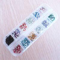 3000 Stück Nail Art Strass Glitter Rund 12 Farben Neu