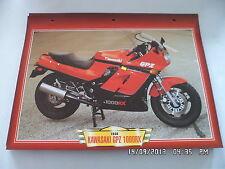 CARTE FICHE MOTO KAWASAKI GPZ 1000 RX 1986