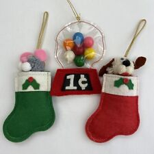 Lot of 3 Vintage Christmas Ornaments Felt Stockings Gumball Machine Puppy Mouse