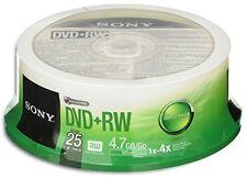 50-Pak SONY 4X Logo-top 4.7GB DVD+RW Media In Cakebox, 2 x 25-PAK, #25DPW47SP