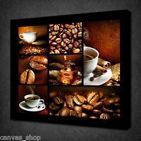 COFFEE BEANS COLLAGE KITCHEN DESIGN WALL ART PICTURE CANVAS PRINT READY TO HANG