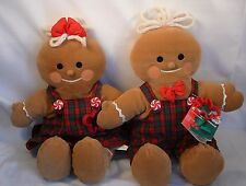 "Gingerbread Boy & Girl Stuffed 13"" Dolls Gibson 1994 Tag Cookie Cutters LOVEABLE"