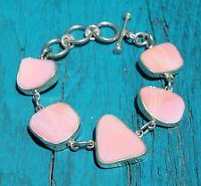 Vintage Sterling Silver 925 Pink Mother of Pearl Toggle Clasp Bracelet 31g